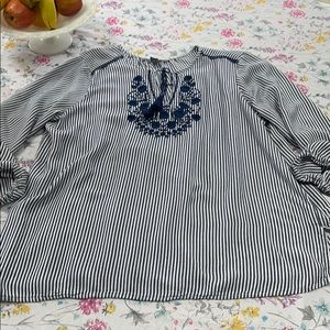 Old Navy blue/white stripe top, XL